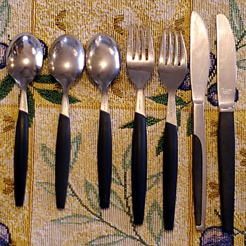 &quot;Danish Modern&quot; Style Stainless and Bakelite Flatware - Mid Century Modern