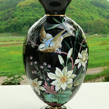 Bohemian (Harrach or Josephinenhütte?) late 19th. c. enameled black glass lamp base (or vase) - Art Glass