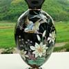 Bohemian (Harrach or Josephinenhütte?) late 19th. c. enameled black glass lamp base (or vase)