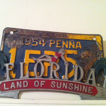 Florida license plate holder with PA plate