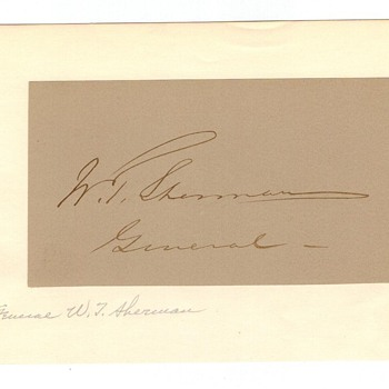 William T. Sherman autographed page.