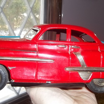 Vintage 10&quot; 1950&#039;s Toy Tin Friction Car Model Unknow - Model Cars
