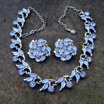 Jewels by Park Lane - Blue Enamel & Rhinestone Necklace Earring Set - Costume Jewelry