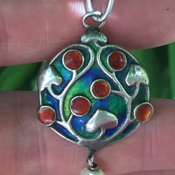 Murrle Bennett Silver Enamel Pendant. - Arts and Crafts
