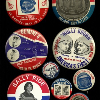 First American Orbit, Space Walk, Woman in Space Pinback button's