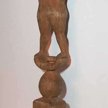Folk Art Sculpture of a Man a Ball and a Cage Whimsey or Whimsy collection Jim Linderman