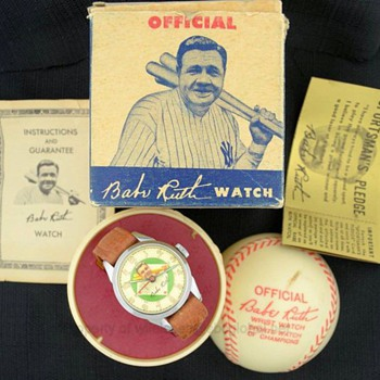 1948 Babe Ruth Baseball Watch in Original Box w/ Guarantee & Sports Pledge - Wristwatches