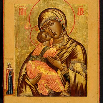 Russian icon of the Vladimir Mother of God. - Victorian Era