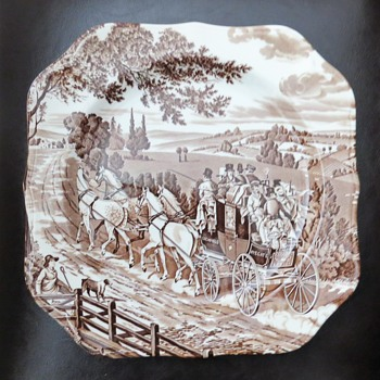 Johnson Brothers Brown Plate - Stagecoach Pattern - China and Dinnerware