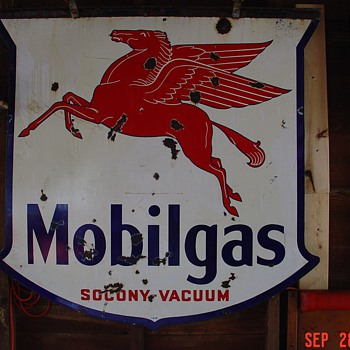 Mobilgas Socony Vacuum...Double Sided Porcelain Sign...Three Colors...1939 - Petroliana
