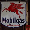 Mobilgas Socony Vacuum...Double Sided Porcelain Sign...Three Colors...1939