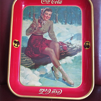 1941 Skater Girl Coca Cola Tray - Coca-Cola
