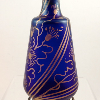 Cobalt Blue Scent Bottle, gilt with metal mount, ca. 1890 - Art Glass