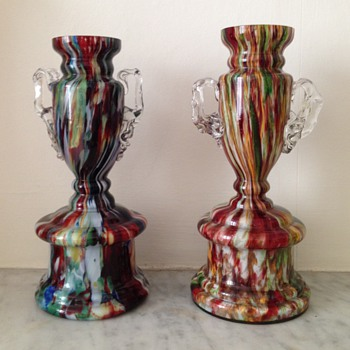 Two Victorian/Edwardian trophy vases - Art Glass