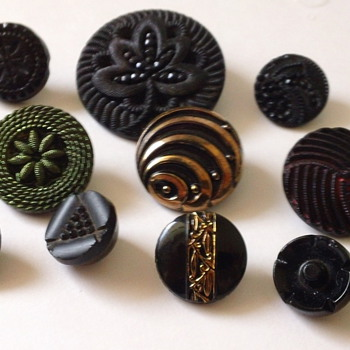 Assorted Black Glass Buttons  - Sewing