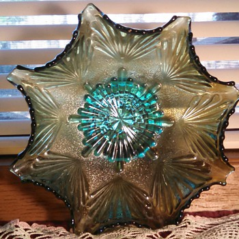 "Imperial ""Shell & Sand"" Green Iridized Bowl - Glassware"
