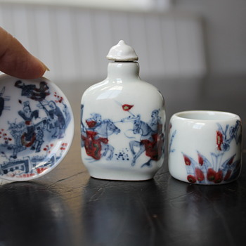 Red and Blue Porcelain Snuff Bottle, Snuff Dish and Thumb Ring