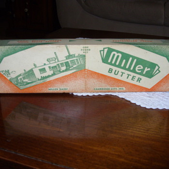 1950s cambridge city indiana butter container - Advertising