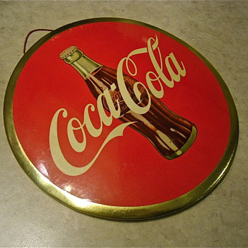 "Coca Cola 9"" Celluloid 1950s Disc-Sign"