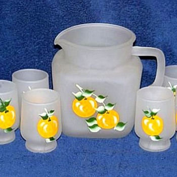 Three Pitcher and Glasses Sets 1950's