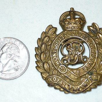 "British Royal Engineers Badge. ""Honi Soit Qui Mal.Y. Pense."