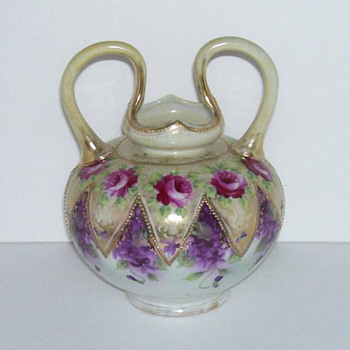Double Handle Nippon Vase with Gold Beading, Dark Pink Roses and Violets...