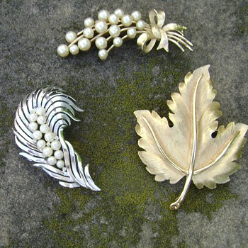 Vintage Crown Trifari Brooches - Leaf - Feather - Bow - Costume Jewelry