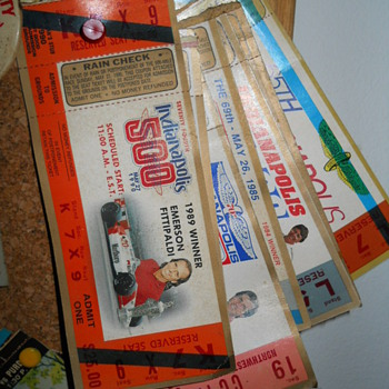 Indy 500 ticket stubs