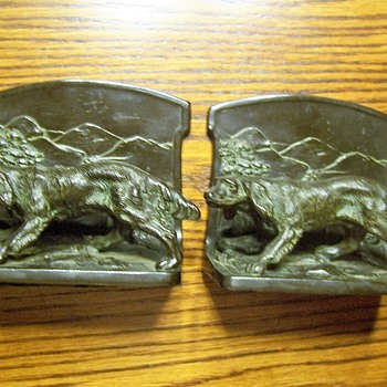 L. V. ARONSON BRONZE IRISH SETTER BOOKENDS