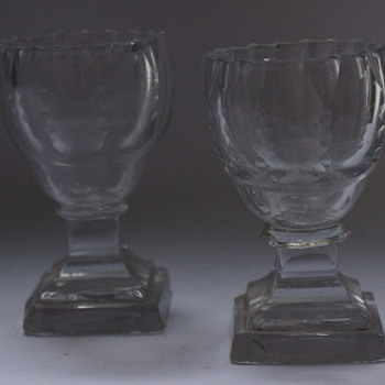 A Pair of Pedestal Salts - Glassware