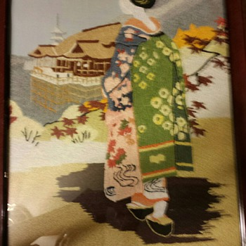 GEISHA EMBROIDERED framed 24x16 and GEISHA EMBROIDERED framed 14x17 1/2 - Sewing