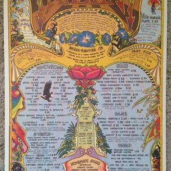 The Trident ~ Flower Power Hippie Menu from San Francisco Bay area