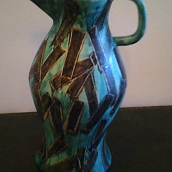 Painted Vase Pitcher: ITALY Circa WWII: A 1940's LOVE STORY <3 - Art Pottery