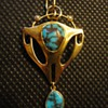 Arts & Crafts gold and turquoise pendant and brooch by Murrle Bennett