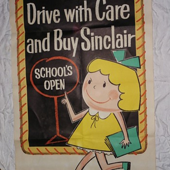 Vintage 1950's original Sinclair quick change posters. Made by the Pratt Poster Company.