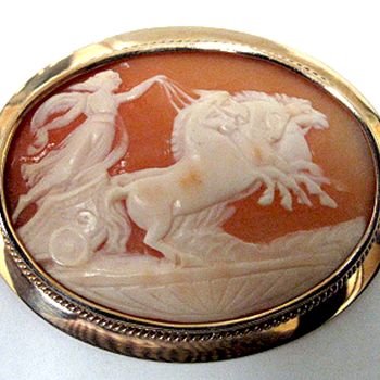 14K Gold Carved Cameo Shell  - Fine Jewelry