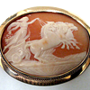 14K Gold Carved Cameo Shell