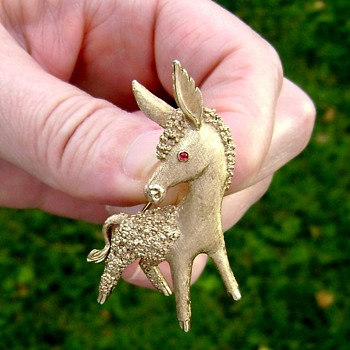 Trifari Donkey Brooch - Costume Jewelry