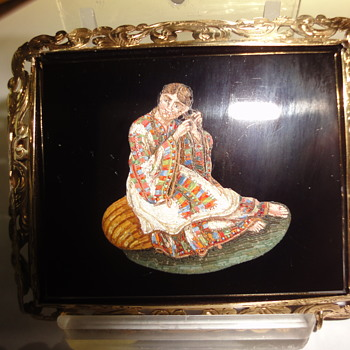 Fantastic Micro Mosaic brooch depicts a lady in Folk Dress  - Fine Jewelry
