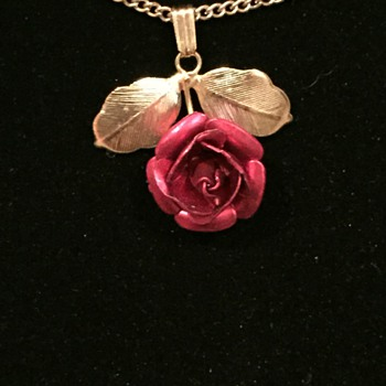 Red Rose and Gold Necklace