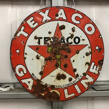Texaco single sided 1920's station sign