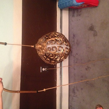 Vintage sphere hanging brass lamp