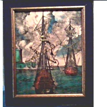 Opaque Engraved and Colored Glass Panel / Two Galleons in Port / Unknown Maker and Age - Art Glass