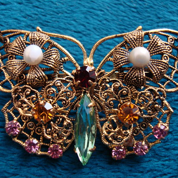 Butterfly Brooch-Czechoslovakia - Costume Jewelry