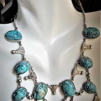 Vintage Sterling Silver Turquoise Scarab Necklace Marked 8 Places Chinese Export? - Silver