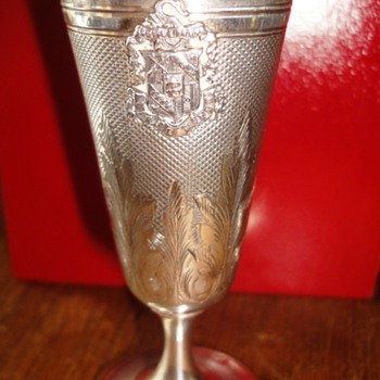 1868s Silver inside gilded  sports trophy from the Société de Tir de Sedan   - Sterling Silver