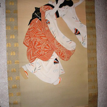 Painted Geisha Scroll - Asian