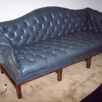 Vintage Ethan Allen Blue Leather Office Couch - Furniture