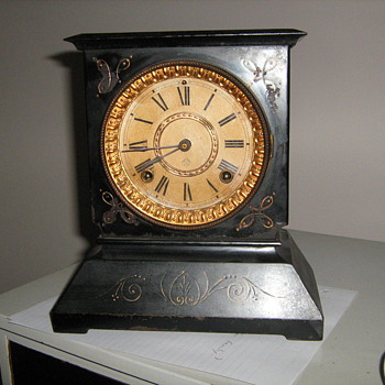 1800 Ansonian New York cast iron, brass and wood clock