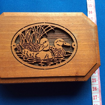 Vintage wooden laser engraved box
